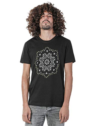 Lotus Herren T-Shirt 100% Bedruckt mit exklusivem Psychodelischem Design - in Schwarz - Medium