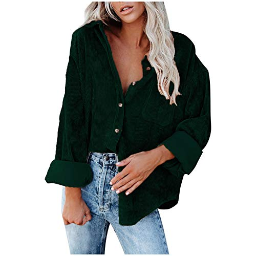 iQKA Womens Corduroy Shirt Jacket Long Sleeve Tops Autumn Winter Casual Loose Button Down T-Shirt with Pockets(Green,M)