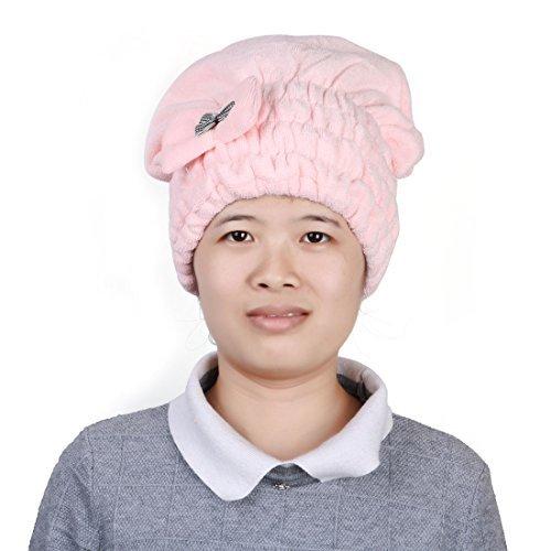 N/A Microfibre Douche De Bain Élastique Bowknot Décor Absorbant l'eau Cheveux Secs Cap Chapeau Rose
