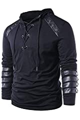 Men Gothic Steampunk Drawcord Lace up Hoodie Medieval Knight Long Sleeve Stitching Leather Armor Sweatshirt Pullover Black, M #1