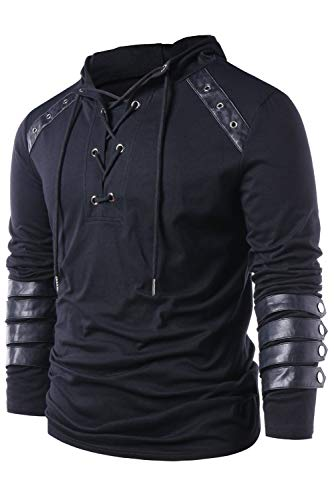 Men Gothic Steampunk Drawcord Lace up Hoodie Medieval Knight Long Sleeve Stitching Leather Armor Sweatshirt Pullover Black, XL steampunk buy now online