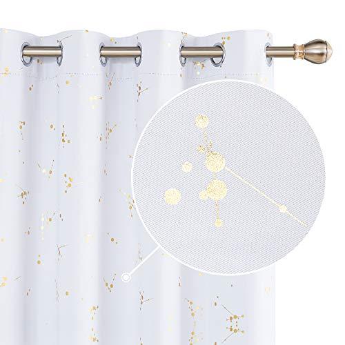 Deconovo Cortinas de Salón Termicas Aislantes Dormitorio Decoración Ventanas Dorado Motivo con Trabillas 2 Piezas 132x160cm Gris Blanco