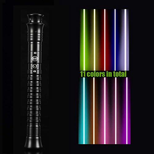 Y&Z RGB Lightsaber, USB 11 Ultimate Duel Lightsaber Que Cambia de Color con Mango de Metal, Juego de Sable de luz eléctrico 9w Super Sword con 3 Juegos de Efectos de Sonido, Black
