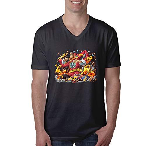 Vdaras Camiseta de manga corta para hombre, cuello en V, para hombre Apoo AKA Roar O-N-E-Piece