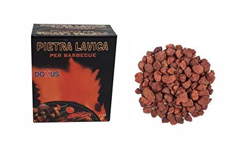 EFFE Pietra Lavica Rossa 2,5 kg per Barbecue | Roccia Lavica in Sassi per BBQ a fornelli a Gas