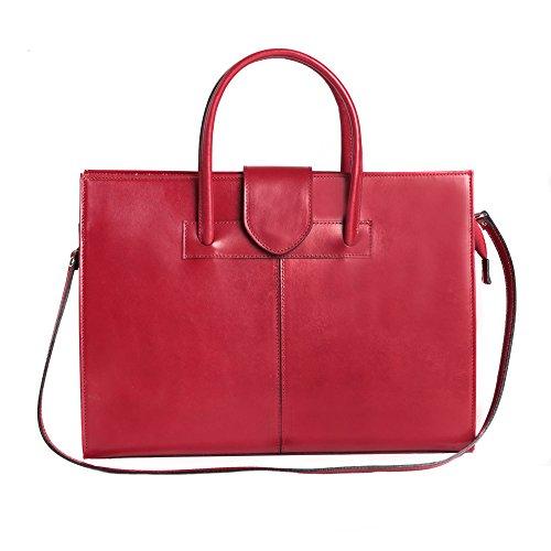 Chicca Tutto Moda di Diddi Alberto - Maletín en de piel italiana, para mujer, fabricado en Italia, 40x30x10 cm, color Rojo, talla talla única