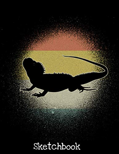 Sketchbook: Vintage Retro Bearded Dragon Silhouette Lover Sketch Book with Blank Paper for Drawing Painting Creative Doodling or Sketching - 8.5 x 11 ... Lovers Journal And Sketch Pad For Drawing