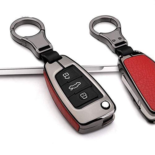 Car Accessories Key Shells,Car Key Cover Case Keychain , Zinc Alloy Leather Car Key Protection Cover, Compatible With Audi C6 A7 A8 B9 R8 A1 A3 A4 A5 Q5 Q7 A6 C5 Tt Tts,A,Black RedA-Black Re