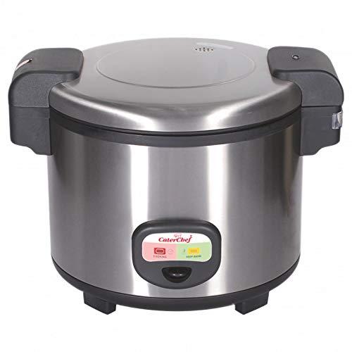 EMGA CaterChef 688085 Cuiseur à riz en acier inoxydable, 1950 W, capacité 5,4 L, hauteur 33,5 cm, largeur 39 cm, longueur 48 cm