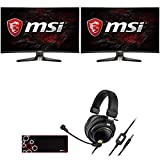 MSI Optix MAG240CR 24-inch FHD 1920x1080 144Hz 1ms FreeSync Curved Gaming Monitor (2-Pack) Bundle with Audio-Technica Premium Gaming Headset and Deco Gear Large Extended Pro Gaming Mouse Pad