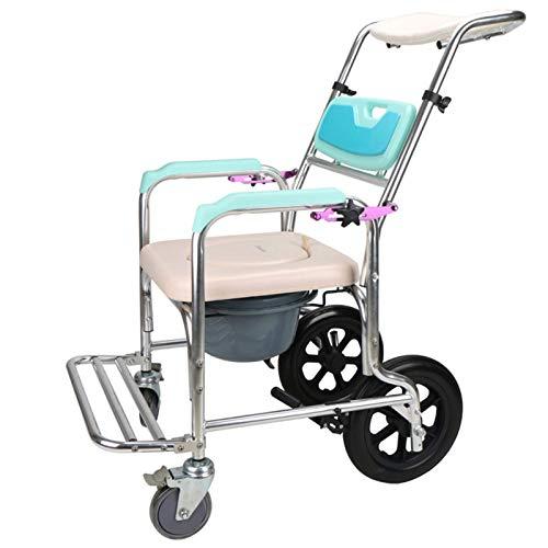 Z-SEAT Sillas con Inodoro de Ducha Cómoda de cabecera con Ruedas, Silla de Inodoro para discapacitados, discapacitados, Personas Mayores, fácil traslado Lateral ✅