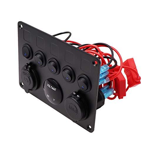 POLKMN Barco de Coches Dual USB Cargador Cargador LED Voltmeter 12V Toma de Corriente 5 Gang On-Off Toggle Switch Panel Ajuste para Barco de automóvil Camión de RV Marine (Color : 5GangGreen)
