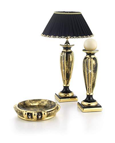 Stella-Keramik,klein schwarz Tischlampe mit Bruyère und Gold-Finish, Stoff Lampenschirm, Swarovski vergoldete Messingkette, Gold Paillettenverzierung