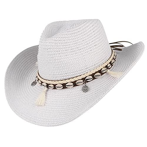 LSY Shell Tassels Cowgirl Sombrero De Verano Sombrero De Paja para Mujeres Hombres Sombrero De Vaquero Occidental Señora Sombrero De Sol Tejido De Moda Gorra De Playa Sombrero De Sol-Blanco, 55-58Cm