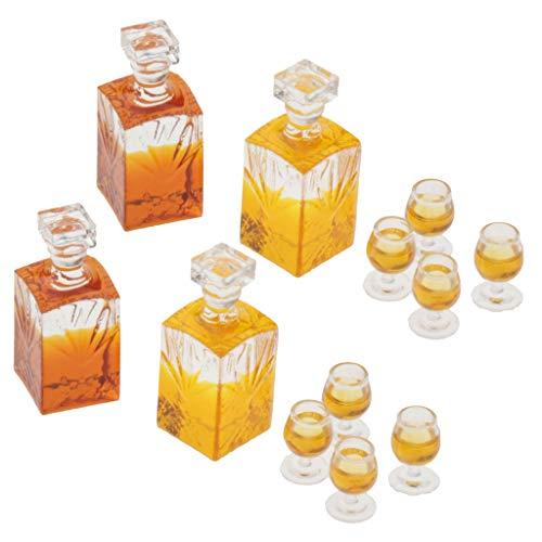 lahomia 1/12 Accesorios de Casa de Muñecas - Botellas de Vino en Miniatura Y 8 Tazas