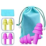 Bihuo Silicone Ear Plugs, 2 Pairs Reusable Earplugs Individually Wrapped with Carry Bag NRR 32 Noise Cancelling Plug for Sleeping, Snoring, Swimming, Airplane and Hearing Protection (Yellow/Pink)
