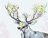 Pintura por Números Ciervo animal creativo para Adultos niños para el hogar Decoraciones Kits - 40 x 50 cm (Sin Marco) -HYS133