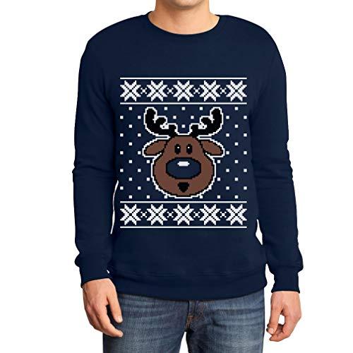 Shirtgeil Maglione di Natale Renna Rudolph - Ugly Sweater Felpa/Maglione da Uomo