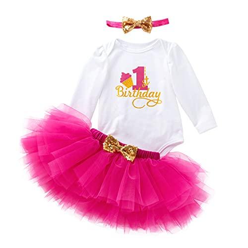 Gagacity Abiti Vestito Bambina 3 Pezzi Neonata Primo Compleanno Abbigliamento Pagliaccetto+Gonna+Fascia