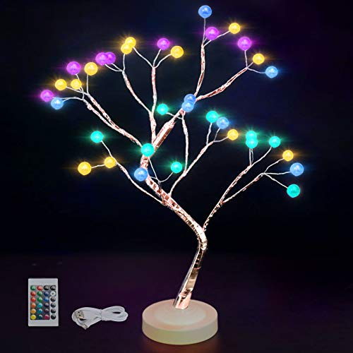 Baum Licht Lampe Zweig Baum Bonsai Baum Künstliche Schreibtischlampen 16 Farbwechsel 4 Modi Batteriebetriebene Baumleuchten mit Timer Raumdekor Nachtlicht für Schlafzimmer, Weihnachten