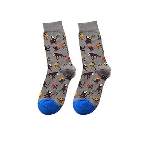 LILONGXI Grappige Sokken, Mode Dames Ademend Antibacterieel Zilver Aap Schilderen Art Sokken Gedrukt Herfst Winter Grappige Casual Katoen Crew Sokken Unisex(3st)
