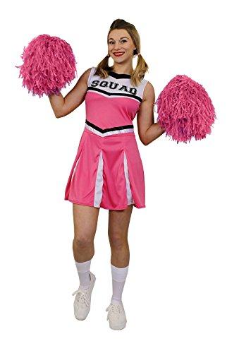 I LOVE FANCY DRESS LTD ÜBERGRÖSSEN Karneval Fasching KOSTÜME VERKLEIDUNG FÜR Frauen MIT DER PERFEKTEN KURVIGEN Figur=ROSA Cheerleader Kleid+Pompoms=SEXY Party =XXLarge