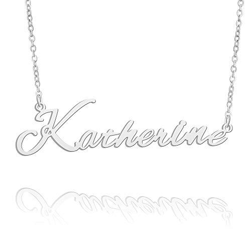 BUREI Collar con Nombre, Grande, Inicial, Plata, Mejor Amiga, joyería, Mujeres, Regalos para Ella, Katherine
