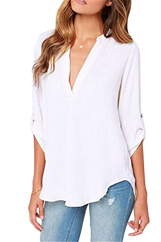 roswear Women's Casual V Neck Cuffed Sleeves Solid Chiffon Blouse Top White L
