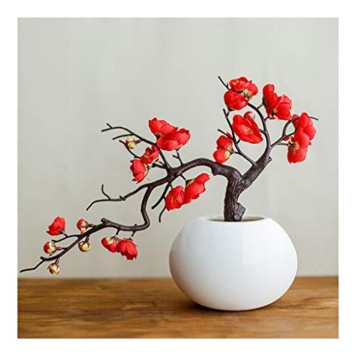 Künstliche Blume Künstliche Blumen Plum Blossom Study Room Bonsai Ornamente Fake Flowers chinesischen Stil Wohnzimmer Ornaments künstliche Topfpflanzen Künstliche Blumen Ewige Blume ( Color : Red )