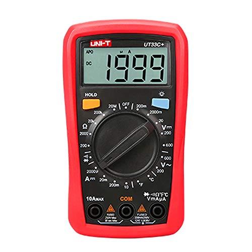 UNI-T UT33C + Multímetro digital de rango automático del tamaño de la palma de la mano, voltímetro, amperímetro, medidor de resistencia y temperatura