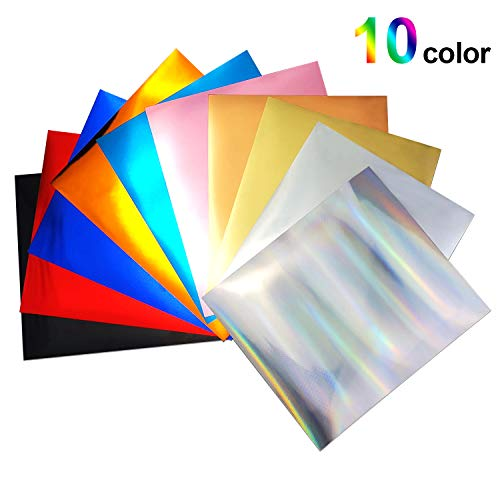 10 Assorted Colors Metallic Stretch Foil HTV Iron On Heat Transfer Vinyl for T-Shirt Iron On 12' × 10' (Pack of 10 Sheets) for Cricut Make and Silhouette Cameo