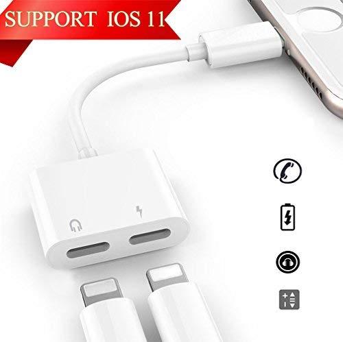 Lighting Adattatore Splitter per iPhone 7/7Plus iPhone 8/8 Plus iPhone X/10,2 in1 Lighting Adattatore, Lighting Doppio Audio per Cuffie e Ricarica&Call Convertitore, Carica e Ascolto Contemporaneamente Compatibile per iOS10.3/11 or later