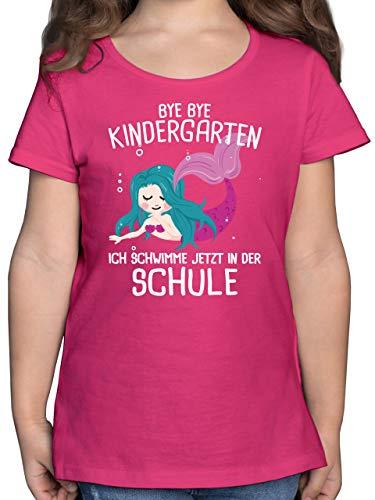 Einschulung und Schulanfang - Bye Bye Kindergarten ich schwimme jetzt in der Schule - 128 (7/8 Jahre) - Fuchsia - Tshirt für Schulanfang - F131K - Mädchen Kinder T-Shirt