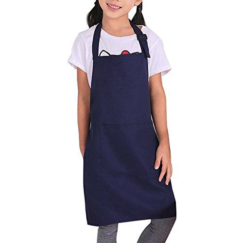 WECHEERS Tablier d'enfants avec des Poches Tablier d'enfants Sangles Réglables De Cou Bébé Fille Et Tablier De Garçon pour La Peinture Cuisine Artisanat Cadeau(Bleu foncé)