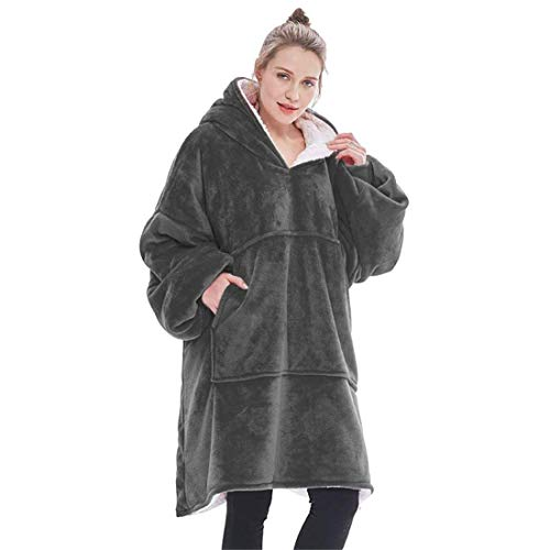 WLMGWRXB Suéter con Capucha de Manta, de Gran tamaño súper Blando cómodo Caliente Gigante con Capucha, Ajuste para Adultos Hombres Mujeres Adolescentes,Gris