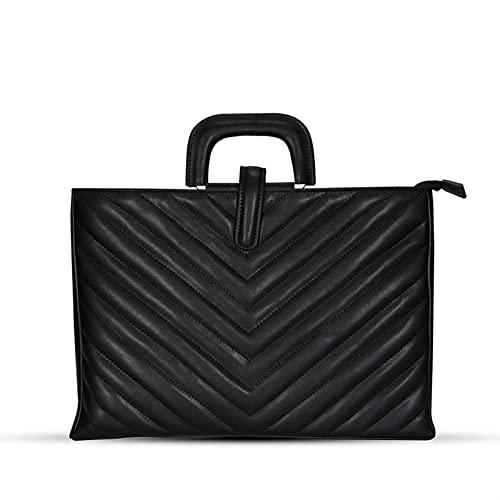 Ordenador Portátiles Funda Bolsa de laptop de gama alta for las mujeres de cuero ligero impermeable 13 - 13.3 pulgadas de la bolsa de asas de la oficina de negocios Bolso de hombro de la oficina de ne