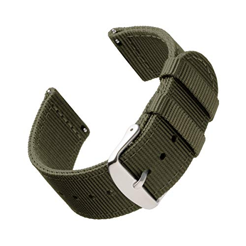 Archer Watch Straps | Repuesto de Correa de Reloj de Nailon para Hombre y Mujer, Correa Fácil de Abrochar para Relojes y Smartwatch | Verde Oliva, 22mm
