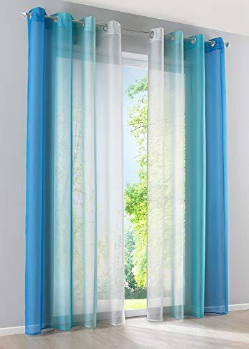 2er Pack Gardinen Vertikal Farbverlauf Druck Transparent »Modena« mit Ösen und Raffhalter, Vorhang, Dekoschal HxB 175x140 cm Blautöne, 10000183