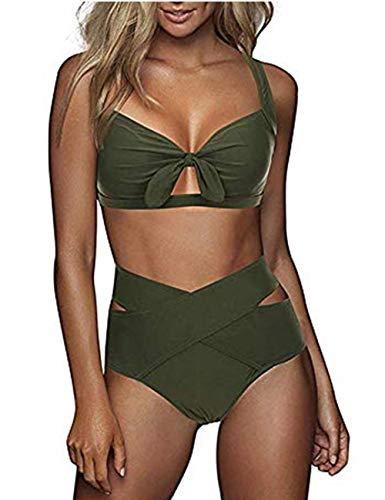 FeelinGirl Damen Elegant Bikini-Sets Neckholder Zweiteilig Strandmode, Grün, Gr.- XL