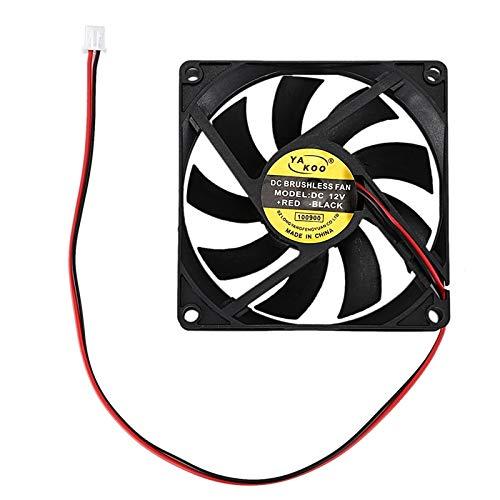 LIXUDECO Ventilador DC 12 V 0,18 A 2 pines Conector PC PC PC Ventilador de refrigeración 80 x 80 mm (color negro)