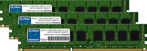 GLOBAL MEMORY Memoria RAM DDR3 de 3 GB (3 x 1 GB) de 1066 MHz PC3-8500 240 Pines ECC DIMM (UDIMM) para Apple XSERVE (DDR3 versión ECC)