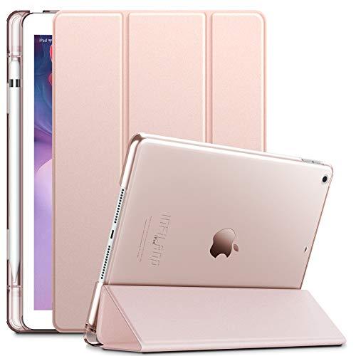 INFILAND Custodia per iPad 8, iPad 7(10,2 Pollici, 2020/2019 Modello, 8a/7a Generazione), Trasparente glassato Cover con Protettivo Portapenne, Auto Svegliati/Sonno, Rosa Dorato