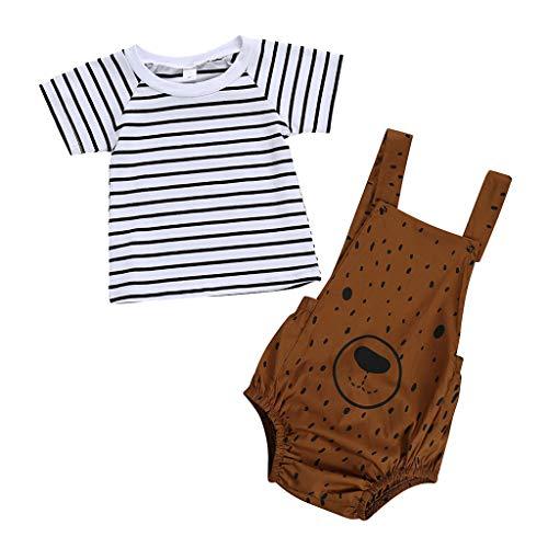 Wolfleague Ensemble BéBé GarçOn Filles T-Shirt Manche Courte Chemise Rayé Tops + Salopette Imprimé Oursons Short Pantalon Court VêTements pour Enfant 3 Mois-3 Ans
