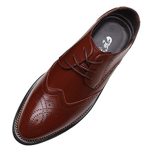 ANUFER Hombres Inteligente Punta Puntiaguda Zapatos de Vestir con Cordones Formal Negocios...