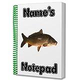 Angeln/Karpfen Fisch Personalisiertes Geschenk–A5Notizblock/Notizbuch, Zeichnungen Doodles...