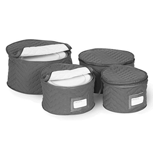 Richards Homewares Set of 4 Micro Fiber Quilted Deluxe Plate Case Dinnerware Storage Organizer for Saucers, Dinner Plates, Dessert Plates, and Salad Plates - Includes Content Label Inserts, Charcoal