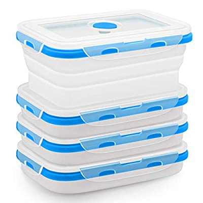 Amazon - 55% Off on Finestep Silicone Food Storage Containers with Airtight Plastic Lids – Set of 4