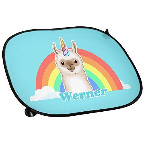Auto-Sonnenschutz mit Namen Werner und Llama-Einhorn-Motiv für Jungen | Auto-Blendschutz | Sonnenblende | Sichtschutz
