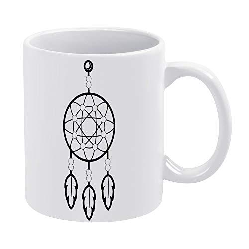 Taza de café de cerámica divertida con diseño de atrapasueños, taza de porcelana y té blanco de 12 onzas, regalo para amigos, mujeres, hombres, cumpleaños, Navidad