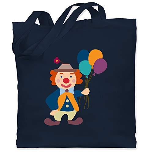 Shirtracer Bunt gemischt Kinder - Clown Luftballons - Unisize - Navy Blau - Verkleidung Kostüm - WM101 - Stoffbeutel aus Baumwolle Jutebeutel lange Henkel